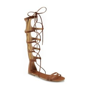 Women's Brown Tall Gladiator Sandals